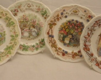 Royal Doulton Brambly Hedge Full Set Of Four Seasons Spring Summer Autumn Winter 8 Inch Plates