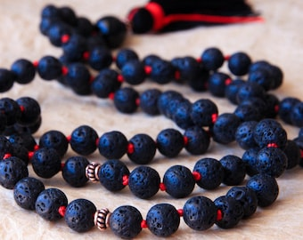 Prayer Beads, 108 Mala Necklace, Lava Stone Necklace, Black Mala, Knotted Mala Beads, Yoga Jewelry