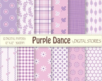 "Baby Girl Digital Paper: ""PURPLE DANCE"" Purple Pink Floral Plaid Scrapbook papers for invites, cards, crafts"