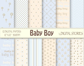 "Baby Boy Digital Paper: ""BABY BOY"" - Light Blue Cream Lolipop Dots - Instand Download"