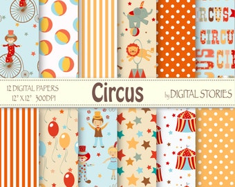 "Circus Digital Paper ""CIRCUS"" Circus Patterns for scrapbooking ,invites,cards"