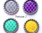 Grey, Purple, Turquoise, Yellow, Moroccan Set of 4 Bottle Cap Magnets