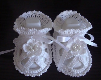 Hand Crocheted Baby Booties-Sandals for baby girl