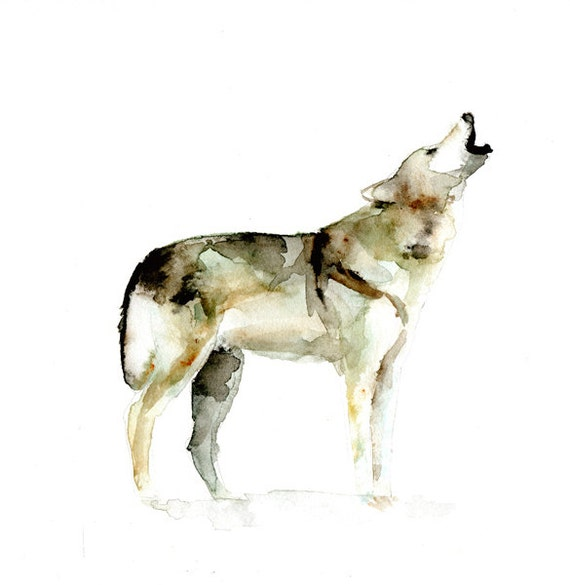 Original wolf watercolor painting animal painting by for Easy animal paintings
