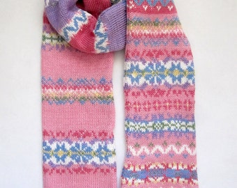 Pink Cotton Knit Fair Isle Scarf