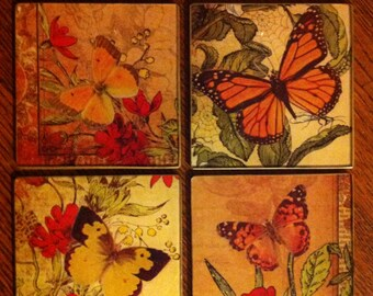 """Coasters Decoupage Collage on Glass """"Butterflies"""""""