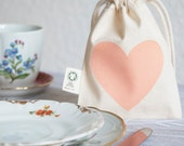 5 Eco Gift Bag: Love Heart Apricot