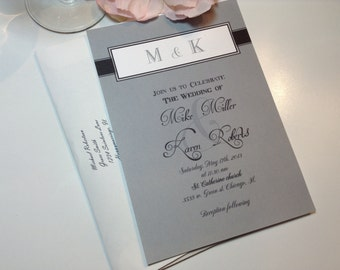 100 Wedding Invitations, invites Grey and Black monogram wedding Available in any color