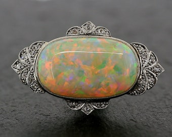 Art Deco Opal Brooch - Antique Opal & Diamond 18ct Gold and Platinum Art Deco Brooch
