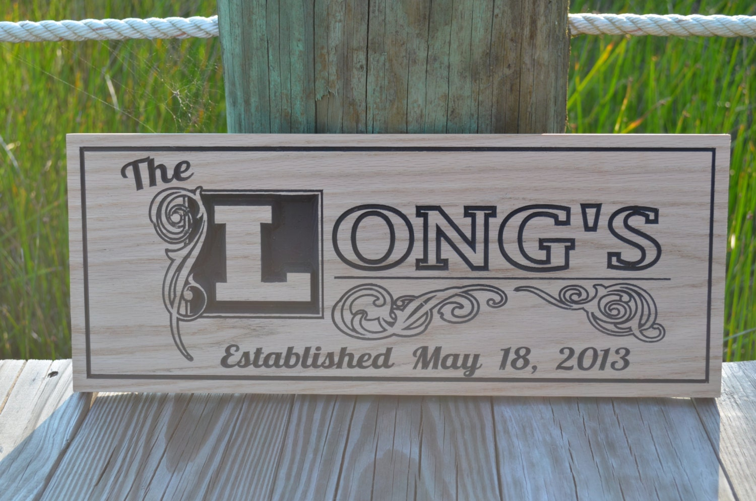 Last name sign carved wooden signs family