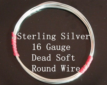 16 g ga Gauge Sterling Silver Wire - Round - Dead Soft - sold by 6 inches increments (RW1602SS)