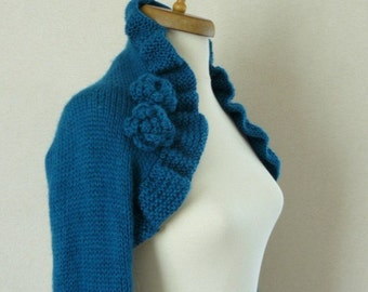 Tale Mohair Shrug - Turquoise Knit shrug bolero - turquoise sweater - long sleeve knit sweater