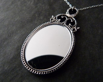 Mirror Necklace, Romantic Jewelry, Wedding Jewelry, Bridesmaids Gift, Sterling Silver