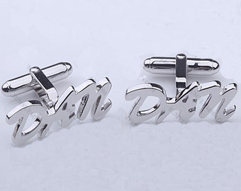 925 silver Cuff Links,sterling silver name Cuff Links,custom name jewelry-Christmas gift for Dad