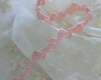 "3/8"" (1cm) peach lovely rose venise lace trim"