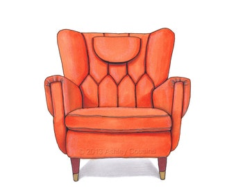 Mid Century Modern Chair Drawing, Orange Nectarine  - 8x10