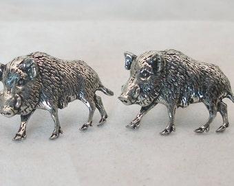 Wild Boar Cufflinks by Hoardersworld in Fine English Pewter, handmade, Gift Boxed (B)