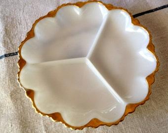 Vintage Milk Glass Gold Rimmed Serving Dish
