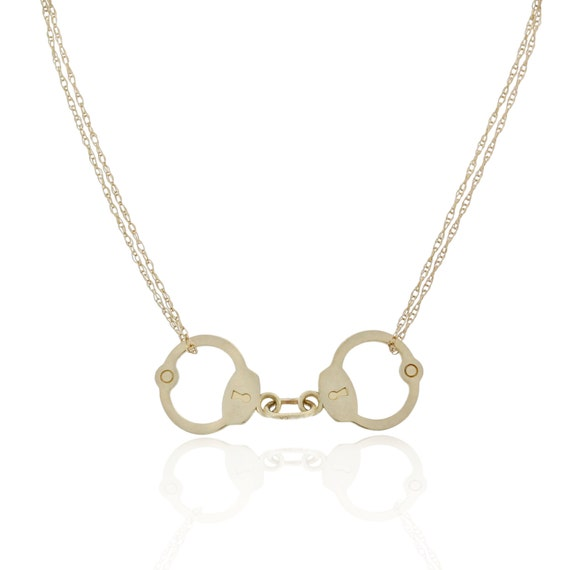 Handcuff Necklace Gold: Solid Gold Handcuffs Necklace 10k Gold Trending Jewelry New
