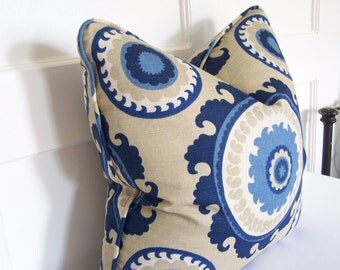 WITH PIPING! Decorative Pillows, Ponderosa Bluestone Designer Pillow with Piping,Designer Pillow Covers, Blue and Tan Pillows