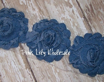 SET OF 6 Denim Flowers - Beautiful Denim Flower Trim