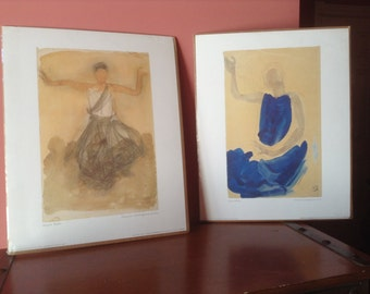 "Prints,lot of 2 ,Auguste Rodin, vintage sealed prints, mint, seated dancer ,20"" x 16"" ,  Vintage Ikea"