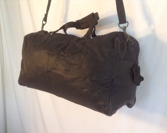 Leather duffel,duffel,Black,leather, carry on luggage, gym bag, Vintage unused 1980's