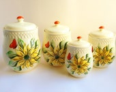 4 Rare Vintage Canisters with Matching Lids. Ceramic Sarasota by Shafford Pattern.
