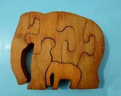 Vintage Wooden Elephant Puzzle with Babies