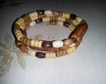 Wood bead wire wrapped bracelet - H-B108