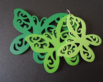 Two sets  Green  butterfly wooden charm/pendant (W215)