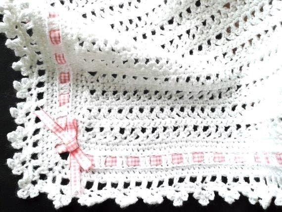 Handmade Moses Basket Bedding : Crochet pram blanket or moses basket bedding by