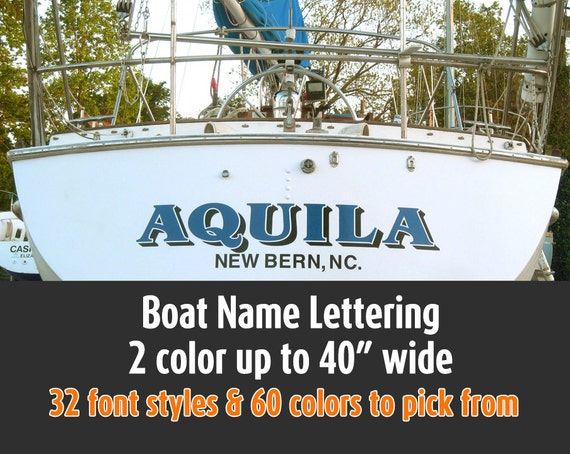 2 colors boat lettering vinyl customized up to 40 many for Boat lettering styles