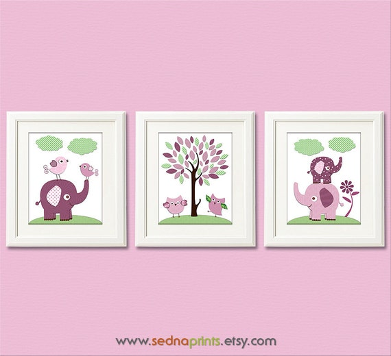 Purple And Green Elephant Nursery Art Print Set 8x10 Baby
