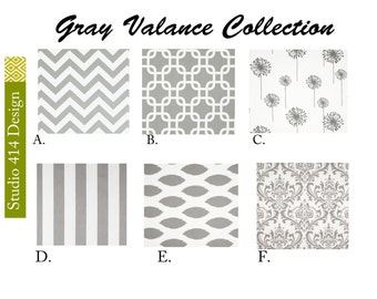 Gray Valance. Gray Valence.Gray Window Drapes.Gray Valance window curtain.