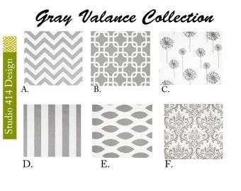 Gray Valance. Gray Valence.Gray Window Drapes.Gray Valance window curtain.