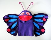 Purple Butterfly Hand Puppet Purple Kids Toy  Eco Friendly Eco-fi Felt Childs Insect Bug Puppet - InJoyEcoCutie