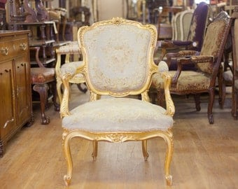 Antique French Gilt Needlework Motif Arm Chair