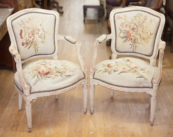 Unique Pair of Antique French Aubusson Chairs