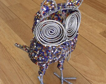 African Beaded Wire Animal  - OWL - Multicolored