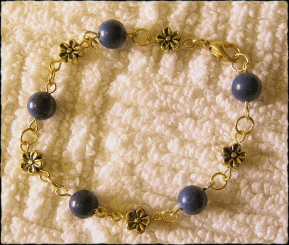 Handmade Gold Bracelet with Jade & Flowers by IreneDesign2011