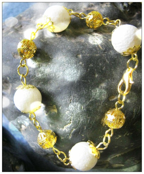 Handmade Gold Bracelet with White Bubble Coral by IreneDesign2011