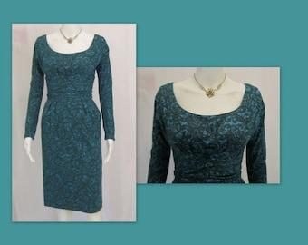 Vintage 50's Dress - 50s Wiggle Dress, Mid Century Dress