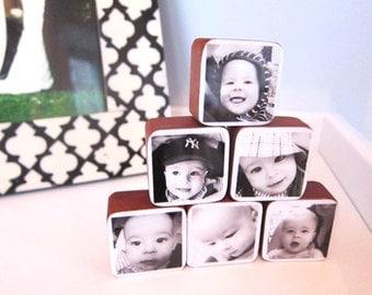 Black and white Photo Wood Blocks great gift idea or nursery decor Set of 6