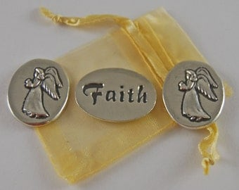 Set of 3 Angel Faith Inspiration Coins with Organza Bag
