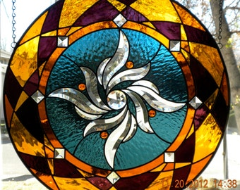 Round Stained Glass Window Panel Bevel