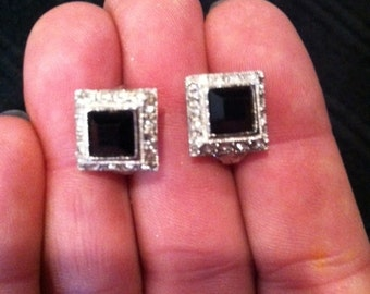Beautiful black and rhinestone trimmed clip-on earrings