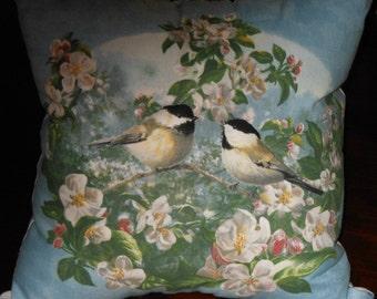 Chickadee Pillow, 3-D  Pillow, 12 X 12 Decorative Pillow