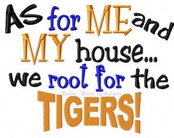 As for Me and My House Tigers Clemson embroidery design Instant Download