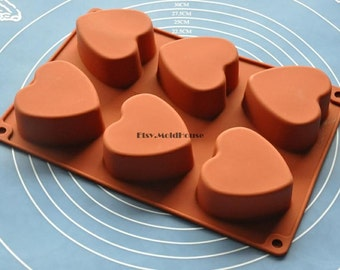Big Heart Flexible Silicone Mold Cake Mold Chocolate Mold Cookie Mold Icing Mold Polymer Clay Mold Resin Mold Soap Mold